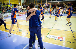 Luka Slabe, head coach of ACH celebrate after the volleyball game between OK Panvita Pomgrad and ACH Volley in Final of 1st DOL Slovenian National Championship 2014, on April 15, 2014 in Murska Sobota, Slovenia. ACH won 3-1 and became Slovenian Volleyball Champion 2014. Photo by Vid Ponikvar / Sportida