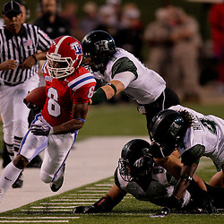 Sep 30, 2009; Ruston, LA, USA;  Louisiana Tech Bulldogs wide receiver Phillip Livas (6) is forced out of bounds by Hawaii Warriors cornerback Spencer Smith (9) during the first half at Joe Aillet Stadium. Louisiana Tech defeated Hawaii 27-6. Mandatory Credit: Derick E. Hingle-US PRESSWIRE