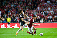 04.09.2015. Copenhagen, Denmark. <br /> Pierre Højbjerg (R) of Denmark fights for the ball with                     Cikalleshi (L) of Albania during their UEFA European Champions qualifying round match at the Parken Stadium. Photo: © Ricardo Ramirez.