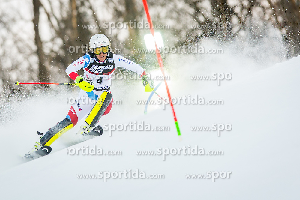 """Wendy Holdener (SUI) during FIS Alpine Ski World Cup 2016/17 Ladies Slalom race named """"Snow Queen Trophy 2017"""", on January 3, 2017 in Course Crveni Spust at Sljeme hill, Zagreb, Croatia. Photo by Žiga Zupan / Sportida"""