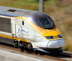 © Licensed to London News Pictures. 30/07/2015 <br /> A Eurostar train travel at highspeed through Kent at Harrietsham near Lenham. <br /> <br /> (Byline:Grant Falvey/LNP)