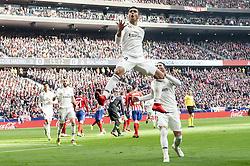 February 9, 2019 - Madrid, Spain - Carlos Henrique Casemiro and Sergio Ramos of Real Madrid celebrating a goal during La Liga match between Atletico de Madrid and Real Madrid at Wanda Metropolitano in Madrid Spain. February 09, 2018. (Credit Image: © Peter Sabok/NurPhoto via ZUMA Press)