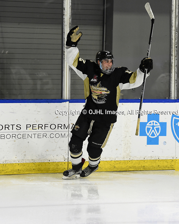 BUFFALO, NY - SEP 21,  2017: Ontario Junior Hockey League Governors Showcase game between the Trenton Golden Hawks and Milton Icehawks, Zach Senecal #12 of the Trenton Golden Hawks celebrates the goal during the third period.<br /> (Photo by Andy Corneau / OJHL Images)