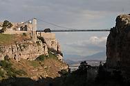 Algeria. Constantine. Sidi M Cid bridge on the Rhumel river , old city    / Algerie, Constantine.  Pont Sidi M Cid sur le Rhumel , la vielle ville  sur le rocher,     06