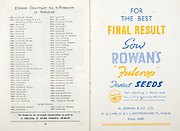 All Ireland Senior Hurling Championship Final,.06.09.1959, 09.06.1959, 6th September 1959,.Minor Kilkenny v Tipperary, .Senior Kilkenny v Limerick, Waterford 3-12. Kilkenny 1-10, ..Advertisement, Rowan's Fulcrop Seeds, M Rowan & Co. Ltd,