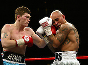 "Ricky Hatton survived arguably the toughest fight of his career against Luis Collazo at the Boston Garden to be crowned the WBA welterweight champion. ..In his first fight at the higher limit, the former light welterweight king floored his tricky southpaw rival in the first 10 seconds of the contest. ....But American Collazo pushed Hatton all the way before losing on points. ....Hatton was ahead on all three cards - 115-112, 115-112, 114-113 - as he became a two-weight world champion....""Live minimum usage £250 witin 72 hours of transmission"""