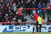 Morecambe's Greg Wylde(21) scores a goal 1-1 and celebrates during the EFL Sky Bet League 2 match between Morecambe and Forest Green Rovers at the Globe Arena, Morecambe, England on 17 February 2018. Picture by Shane Healey.