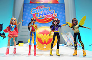 DC Super Hero Girls show off their girl power at the New York Toy Fair, Friday, Feb. 12, 2016.  The dolls are inspired by a new interpretation of iconic DC Comics characters in an all new high school setting.  (Photo by Diane Bondareff/AP Images for Mattel)