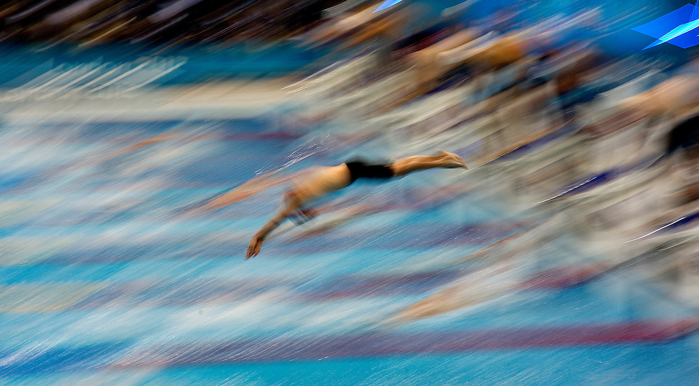Competitor swims during the Men's 4X200m heat 1.at the London 2012 Olympic Games Swimming competition, London, Britain, 01 August 2012.. BOGDAN MARAN / MEDIAFAX FOTO for BPA.