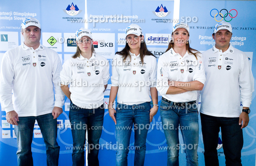 Slovenian Cross-country team: coach Marko Gracer, Vesna Fabjan, Petra Majdic, Katja Visnar and coach Ivan Hudac at the 4th OKS press club with Slovenian nordic Olympic Candidates for Vancouver 2010,  on October 08, 2009, in Telekom Slovenija, Ljubljana, Slovenia.   (Photo by Vid Ponikvar / Sportida)