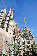 La Sagrada Familia, Roman Catholic basilica under construction in Barcelona, Catalonia, Spain. designed by Antoni Gaudi