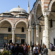 Tourists at the Harem of the Topkapi Palace, the Ottoman palace in Istanbul's Sultanahmet district.