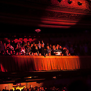 September 25, 2013 - New York, NY: The audience applauds as the band Earth, Wind & Fire (not visible) performs at the Beacon Theatre in Manhattan on Wednesday night.<br /> CREDIT: Karsten Moran for The New York Times