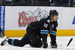 Dec 1, 2011; San Jose, CA, USA; San Jose Sharks left wing Brad Winchester (10) warms up before the game against the Montreal Canadiens at HP Pavilion.  San Jose defeated Montreal 4-3 in shootouts. Mandatory Credit: Jason O. Watson-US PRESSWIRE