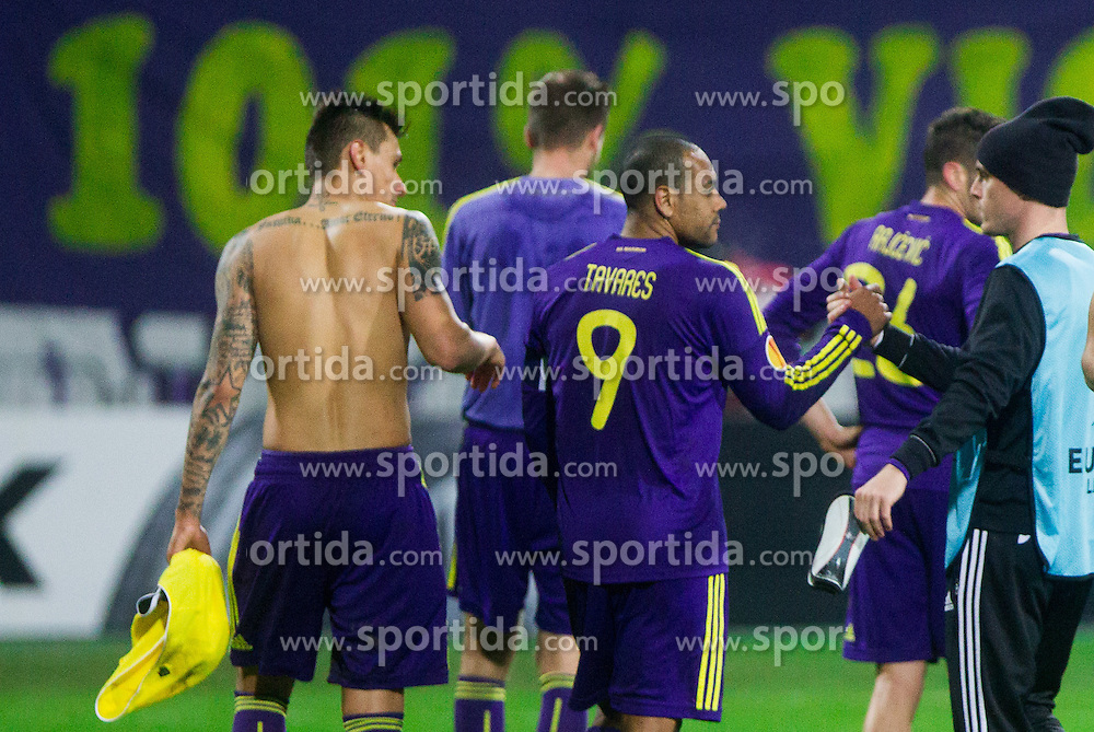 Marcos Tavares #9 of Maribor after the football match between NK Maribor and Sevilla FC (ESP) in 1st Leg of Round of 32 of UEFA Europa League 2014 on February 20, 2014 at Stadium Ljudski vrt, Maribor, Slovenia. Photo by Vid Ponikvar / Sportida