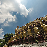 The 36m high great buddha statue towers over 480 stauues in the great buddha land of Fo Guang Shan Buddhist Temple, Jia Shen , Kaohsiung County, Taiwan,  August 2nd, 2008