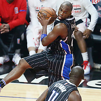 11 January 2017: Orlando Magic guard Jodie Meeks (20) grabs the rebound during the LA Clippers 105-96 victory over the Orlando Magic, at the Staples Center, Los Angeles, California, USA.