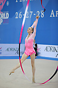 Durunda Marina during final at ribbon in Pesaro World Cup on April 28, 2013.<br /> Marina is a Azerbaijani individual rhythmic gymnast of Ukrainian origin, she born on June 12, 1997 in Sevastopol.