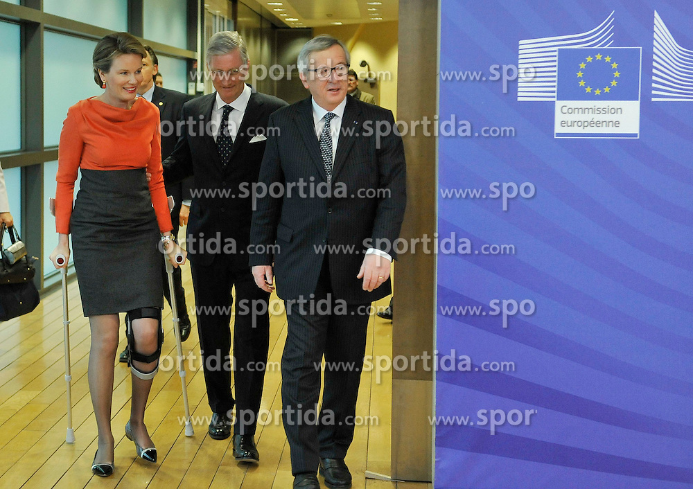European Commission President Jean-Claude Juncker (R) welcomes King Philippe (C) and Queen Mathilde of Belgium prior to a meeting at the EU headquarters in Brussels, Feb. 25, 2015. EXPA Pictures &copy; 2015, PhotoCredit: EXPA/ Photoshot/ Ye Pingfan<br /> <br /> *****ATTENTION - for AUT, SLO, CRO, SRB, BIH, MAZ only*****