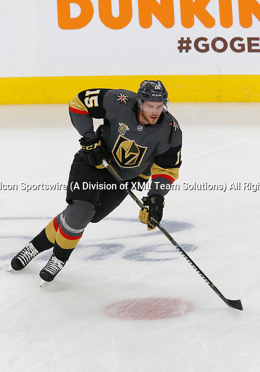 LAS VEGAS, NV - APRIL 11: Vegas Golden Knights defenseman Jon Merrill (15) practices before Game One of the Western Conference First Round of the 2018 NHL Stanley Cup Playoffs between the L.A. Kings and the Vegas Golden Knights Wednesday, April 11, 2018, at T-Mobile Arena in Las Vegas, Nevada. (Photo by: Marc Sanchez/Icon Sportswire)