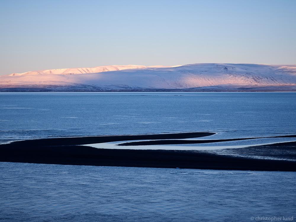 Overlooking Seleyri in Húnafjörður. Langadalsfjall Mountain in background. Northwest Iceland.