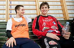 Gasper Marguc and Matevz Skok during practice session of Slovenian Handball Men National Team, on January 11, 2011, in Zrece, Slovenia. (Photo by Vid Ponikvar / Sportida)
