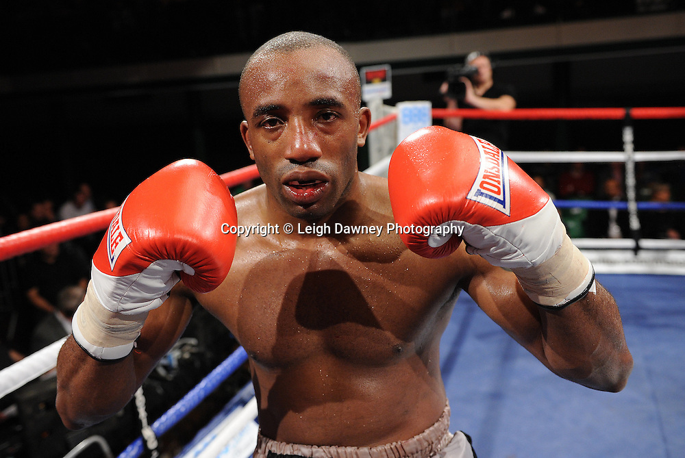 Erick Ochieng defeats Dee Mitchell (pictured) in a 6x3min Light Middleweight contest at York Hall 09.11.11. Matchroom Sport. Photo credit: © Leigh Dawney 2011.