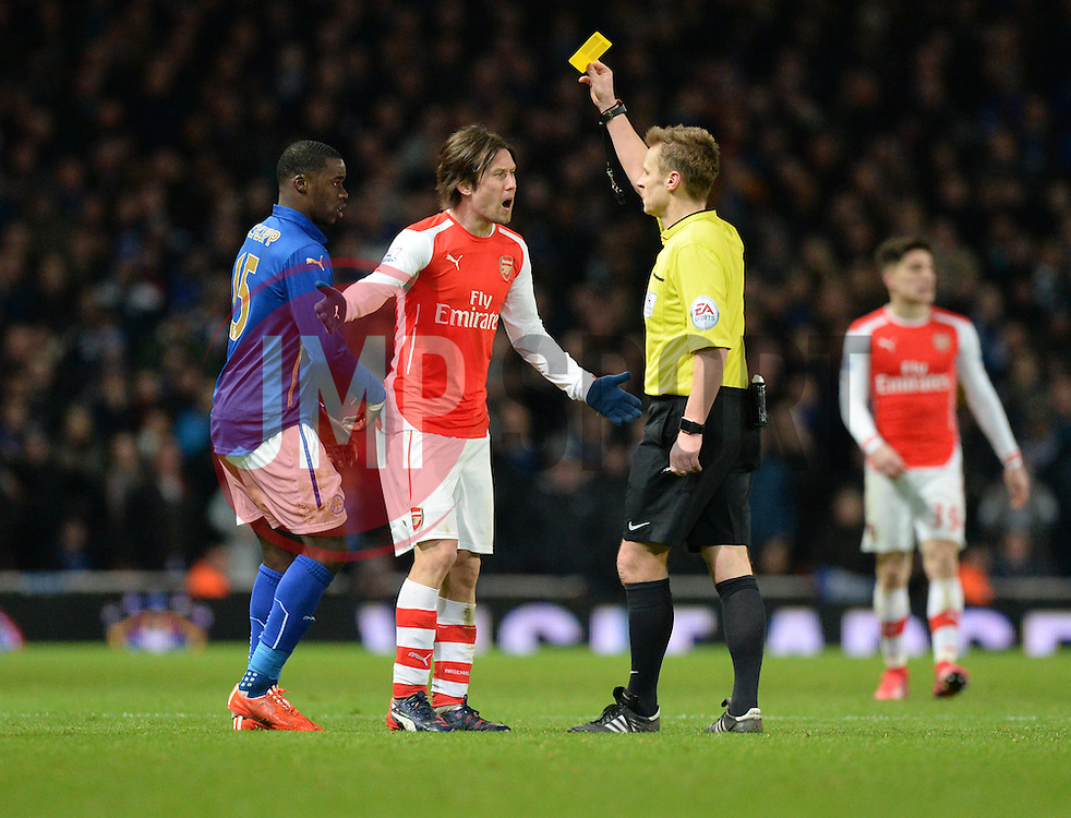 Arsenal's Tomas Rosicky reacts to getting a yellow card. - Photo mandatory by-line: Alex James/JMP - Mobile: 07966 386802 - 10/02/2015 - SPORT - Football - London - Emirates Stadium - Arsenal v Leicester City - Barclays Premier League