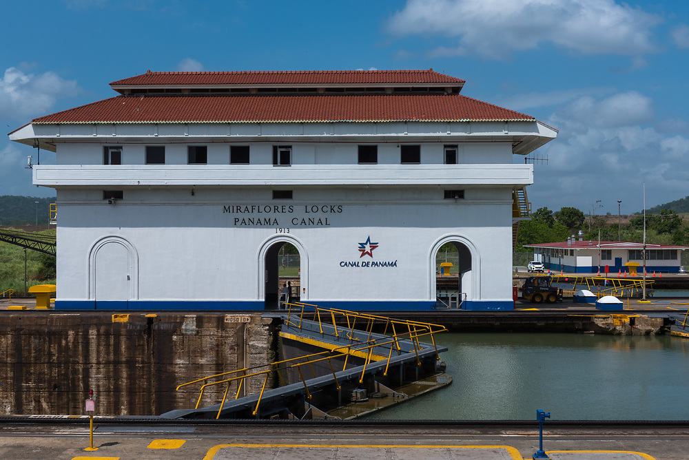 Panama Canal, Panama--April 19, 2018--The Miraflores locks building of the Panama Canal. Editorial use only.