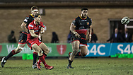 Edinburghs' Jaco van der Walt passes the ball out wide.<br /> <br /> Photographer Simon Latham/Replay Images<br /> <br /> Guinness PRO14 - Dragons v Edinburgh - Friday 23rd February 2018 - Eugene Cross Park - Ebbw Vale<br /> <br /> World Copyright &copy; Replay Images . All rights reserved. info@replayimages.co.uk - http://replayimages.co.uk
