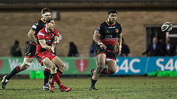 Edinburghs' Jaco van der Walt passes the ball out wide.<br /> <br /> Photographer Simon Latham/Replay Images<br /> <br /> Guinness PRO14 - Dragons v Edinburgh - Friday 23rd February 2018 - Eugene Cross Park - Ebbw Vale<br /> <br /> World Copyright © Replay Images . All rights reserved. info@replayimages.co.uk - http://replayimages.co.uk