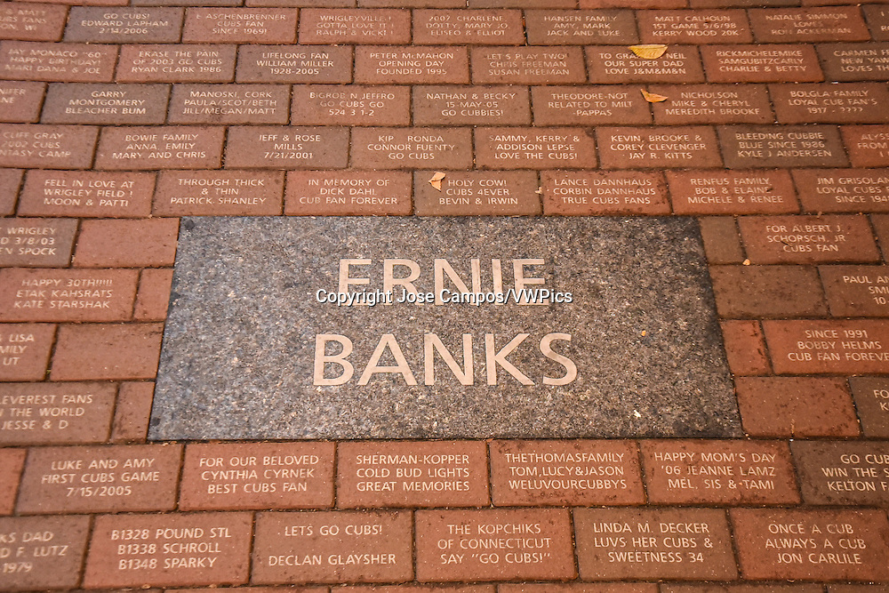 Ernie Banks sidewalk plaque. Wrigley Field is a baseball park located on the North Side of Chicago, Illinois. It is the home of the Chicago Cubs, one of the city's two Major League Baseball (MLB) franchises.