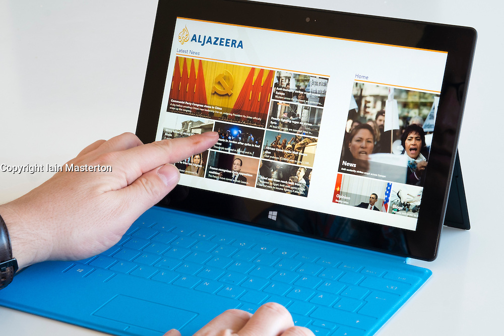 AlJazeera newspaper website on a Microsoft Surface rt tablet computer
