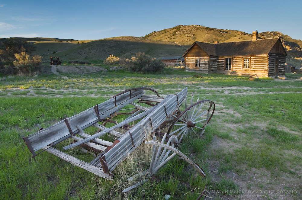Wagon and buildings, historic ghost town Bannack State Park Montana