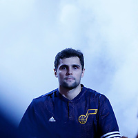 09 December 2015:  Utah Jazz guard Raul Neto (25) is seen during the players introduction prior to the Utah Jazz 106-85 victory over the New York Knicks, at the Vivint Smart Home Arena, Salt Lake City, Utah, USA.