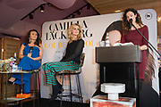 Boekpresentatie van Camilla Lackberg - Gouden Kooi in Mama Kelly, Amsterdam.<br /> <br /> Op de foto: Camilla Lackberg en Daphne Deckers met Anna Drijver (zwanger)