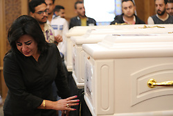 November 3, 2018 - Minya, Egypt - A women reacts during the funeral of people who were killed in an attack at the Prince Tadros Church in Minya, Egypt. At least seven people were killed and 12 others wounded in an attack on Coptic Christians near a monastery in the southern province of Minya on Friday. (Credit Image: © Xinhua via ZUMA Wire)