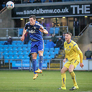 James Bolton (Halifax) clears the ball during the Conference Premier League match between FC Halifax Town and Guiseley at the Shay, Halifax, United Kingdom on 5 December 2015. Photo by Mark P Doherty.