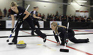 TREVOR HAGAN - Leslie Wilson sweeps for skip, Cathy Overton-Clapham during the final of the Scotties Provincial Curling Championships in Altona. Overton-Clapham is facing off against Chelsea Carey.<br /> January 30, 2011