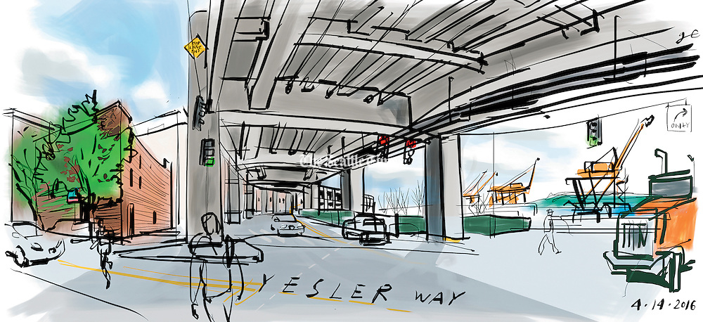 This south-facing view on Yesler Way under the viaduct includes towering Port of Seattle cranes and a little brick building that has been home to Al Boccalino's Italian restaurant for decades. (Gabriel Campanario / The Seattle Times)