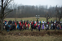 """05 APR 2012, KALWARIA ZEBRZYDOWSKA/POLAND:<br /> Der Pilgerzug mit Darstellern - Jesus und roemische Legionaere - auf dem Weg von der Kapelle Kaplica Zgromadzenia Apostopow zum Dom Annasza.<br /> An der polnischen Wallfahrtsstaette Kalwaria Zebrzydowska kommen in der Karwoche alljaehrlich tausende von Katholiken zusammen, um als Pilger den Andachtsweg """"Pfad des Herrn Jesus"""" zu beschreiten, auf dem als Passionsspiel die Leiden Jesus Christus nachgespielt werden. Die zweitaegige Prozession fuehrt ueber einen mit vielen kleinen Kirchen und Kapellen gesaeumten Kreuzweg. <br /> IMAGE: 20120405-01-169<br /> KEYWORDS: Mysterienspiel, Passionsspiel. Pilgerstaette, Ostern, Osterprozession, Pligerstätte, Pilgerpfad, Glaeubige, Gäubige"""