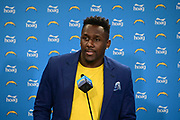 Mar t5, 2019; Costa Mesa, CA, USA; Los Angeles Chargers linebacker Thomas Davis is introduced at a press conference at the Hoag Performance Center.