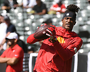 Sep 15, 2019; Oakland, CA, USA; Kansas City Chiefs wide receiver Demarcus Robinson (11) preparing to battle against the Oakland Raiders at Oakland-Alameda County Coliseum. The Chiefs defeated the Raiders 28-10..(Gerome Wright/Image of Sport)