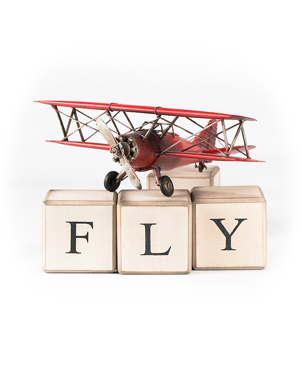 toy airplane and fly blocks
