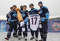 The Stovepipe Lumberjacks win the final championship round of trhe 30+ division in Sunday's New England Pond Hockey Classic.  (Karen Bobotas/for the Laconia Daily Sun)