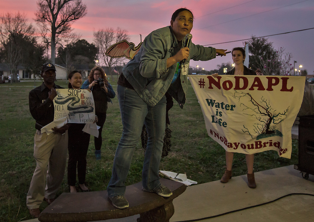 Cherri Foytlin speaking at  a rally beforethe Bayou Bridge pipeline hearing in Napoleonville, LA