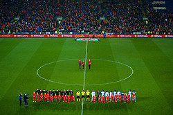 CARDIFF, WALES - Tuesday, November 14, 2017: Wales and Panama players line-up for the national anthems before the international friendly match between Wales and Panama at the Cardiff City Stadium. (Pic by Peter Powell/Propaganda)