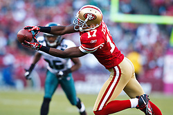 October 10, 2010; San Francisco, CA, USA;  San Francisco 49ers wide receiver Dominique Zeigler (17) catches a pass past Philadelphia Eagles cornerback Trevard Lindley (back) during the first quarter at Candlestick Park.