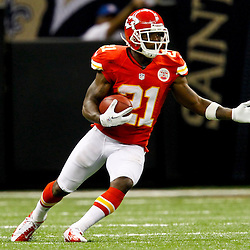 September 23, 2012; New Orleans, LA, USA; Kansas City Chiefs cornerback Javier Arenas (21) returns a kick during the second half of a game against the New Orleans Saints at the Mercedes-Benz Superdome. The Chiefs defeated the Saints 27-24 in overtime. Mandatory Credit: Derick E. Hingle-US PRESSWIRE