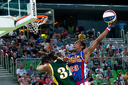 Bull Bullard dunks at The Harlem Globetrotters Show, on May 26, 2011 in SRC Stozice, Slovenia. (Photo by Matic Klansek Velej / Sportida)